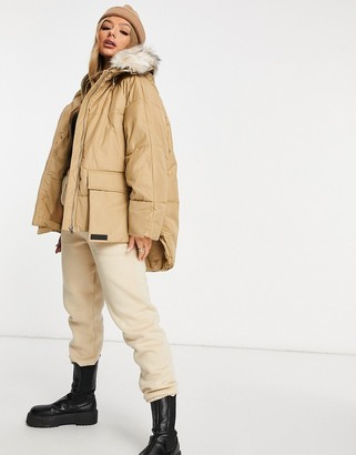 Sixth June oversized puffer jacket with faux-fur hood