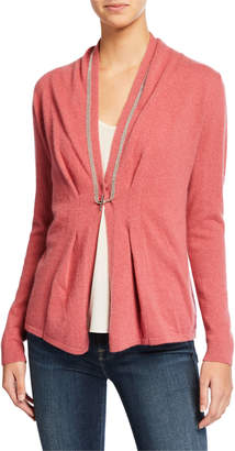 Neiman Marcus Chain Trim Toggle-Front Long-Sleeve Cashmere Cardigan