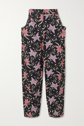 Isabel Marant Gubaia Cropped High-rise Floral-print Tapered Jeans - Charcoal