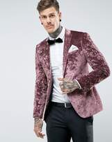 Asos Skinny Blazer In Purple Crushed Velvet
