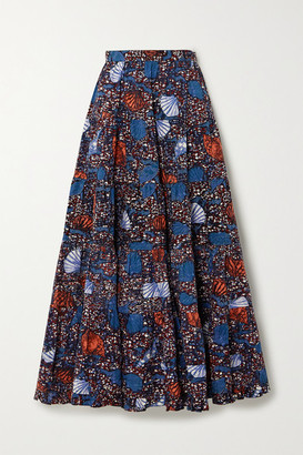 Ulla Johnson Sylvie Pleated Printed Cotton Midi Skirt - Blue