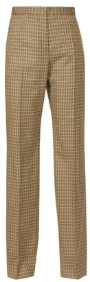 Rochas Checked Tailored Twill Trousers - Womens - Brown Multi