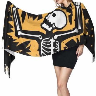 Gong Skull Rib Cage Skeleton Electric Shock Women's Fashion Long Shawl Universe Rose Planet Cashmere Scarf Winter Warm Large Scarf Gift Box