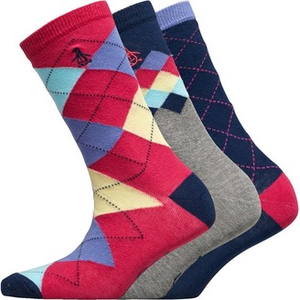 Original Penguin Womens Three Pack Socks Argyle Hot Pink/Navy/Grey