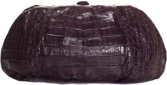 Nancy Gonzalez Dark Purple Crocodile Leather Clutch