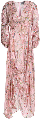 Preen by Thornton Bregazzi Ruched Devore Floral-print Chiffon Maxi Dress