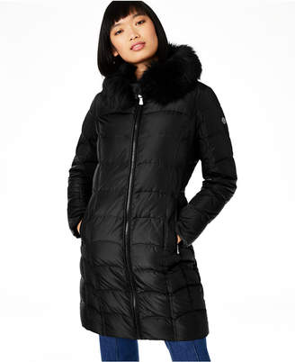 Calvin Klein Hooded Faux-Fur-Trim Down Puffer Coat