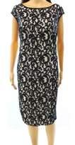 Lauren Ralph Lauren Women's Jersey-Sides Lace Sheath Dress (14W, Black/White)