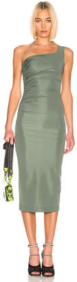Off-White Off White One Shoulder Dress in Military Green   FWRD