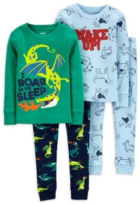 Child of Mine by Carter's Baby & Toddler Boys Long Sleeve Snug Fit Cotton Pajamas, 4-Piece Set (9M-5T)