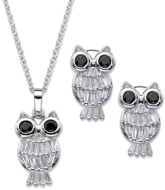 PalmBeach Jewelry Platinum-Plated Owl Pendant and Earring Set Cubic Zirconia - Black