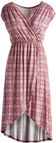 Glam Rose & Blue Floral Check High-Low Surplice Dress