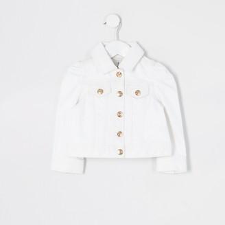 River Island Mini girls White puff sleeve denim jacket