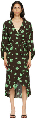 Ganni Brown and Green Crepe Printed Wrap Dress