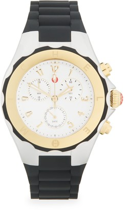 Michele Goldtone & Stainless Steel Chronograph Silicone-Strap Watch