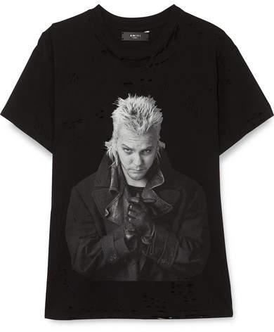 Amiri Lost Boys Distressed Printed Cotton-jersey T-shirt - Black