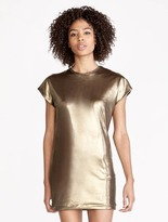 Halston Metallic Jersey Back Drape Dress