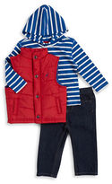 Nautica Baby Boys Puffer Vest, Striped Tee and Jeans Set