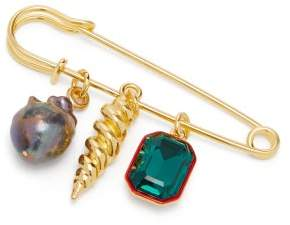 Lizzie Fortunato Memento Baroque Pearl Gold Plated Brooch - Womens - Blue