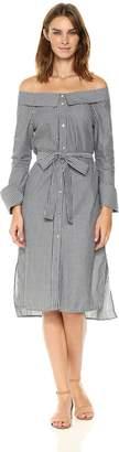 Ark & Co Women's Pinstripe Off The Shoulder Belted Dress
