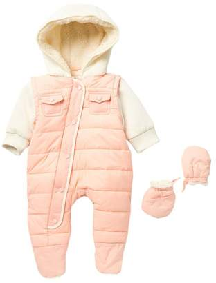 Urban Republic Faux Shearling Lined Quilted Pram with Knit Sleeves & Mittens (Baby Girls)
