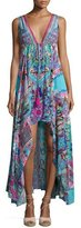 Camilla Embellished Crepe V-Neck Drawstring Maxi Dress, Festival Friends