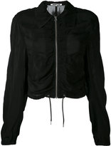 McQ by Alexander McQueen ruched bomber jacket - women - Cupro - 36