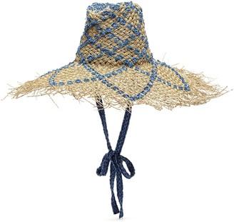 Laurence & Chico Weaved denim straw floppy hat