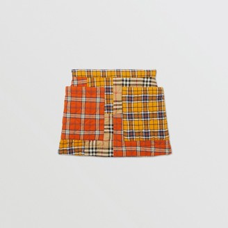 Burberry Childrens Patchwork Check Cotton Flannel Skirt