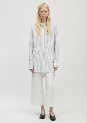 Ann Demeulemeester Cotton Stripe Band Collar Long Shirt