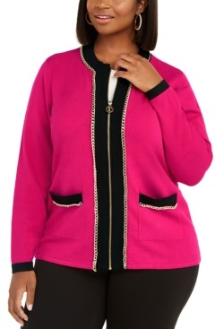 Belldini Plus Size Zip-Front Chain-Trim Cardigan
