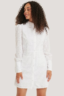NA-KD Front Pocket Anglaise Dress