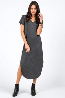 francesca's Piper V-Neck Knit Maxi Dress - Black
