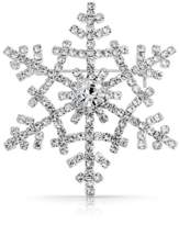 Bling Jewelry Crystal Winter Snowflake Brooch Christmas Pin Silver Plated.