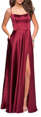 La Femme Square-Neck Sleeveless Satin Gown with Strappy Open-Back