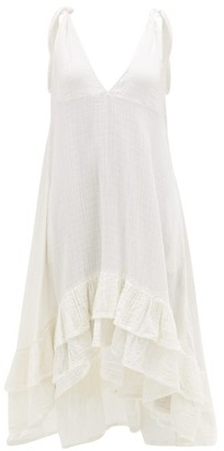 Anaak - Anneka Tie-strap Ruffled Cotton-gauze Dress - White