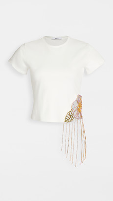 Area Crystal Flower Cutout Fitted Tee