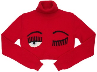 Chiara Ferragni Flirting Eye Cropped Wool Knit Sweater