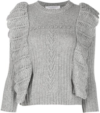 Philosophy di Lorenzo Serafini Pointelle-Knit Ruffle-Detail Jumper