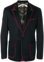 Dolce & Gabbana contrast piped trim blazer