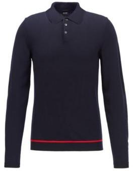 BOSS Long-sleeved polo shirt in virgin wool