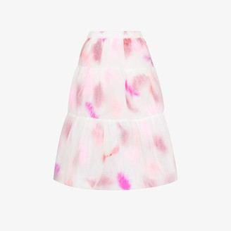Susan Fang Tiered Feather Organza Midi Skirt