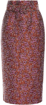 Antonio Berardi Belted Boucle-tweed Midi Pencil Skirt