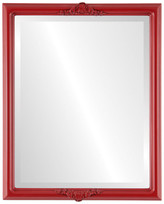 """The Oval And Round Mirror Store Contessa Framed Rectangle Mirror in Holiday Red, 19""""x25"""""""