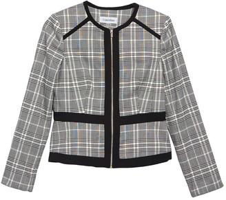 Calvin Klein Plaid Colorblock Zip Jacket