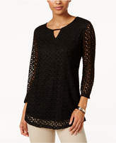 JM Collection Crochet-Lace Keyhole Top, Only at Macy's