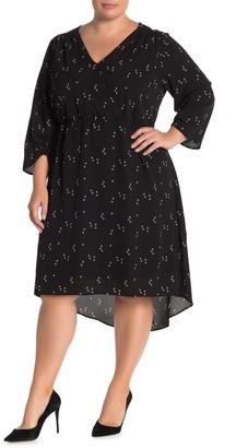 Bobeau Printed Faux Wrap Dress (Plus Size)