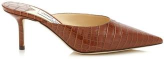 Jimmy Choo Rav 65 Croc-Embossed Mules