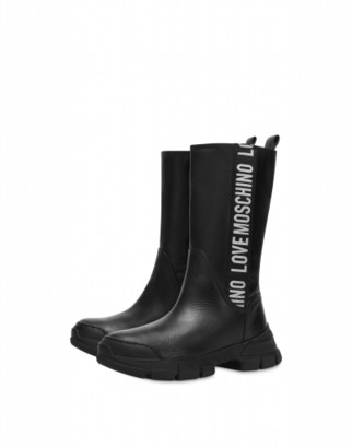 Love Moschino Boots Logo Band Woman Black Size 35 It - (5 Us)