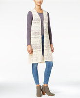One Hart Juniors' Mixed-Knit Duster Vest, Only at Macy's